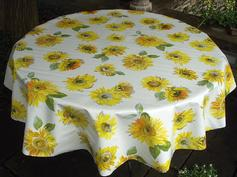white sunflower oilcloth